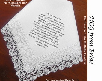 Mother of the Groom Gift Handkerchief From Bride 0801 Sign & Date  5 MOG Wedding Hankerchief Styles and 8 Ink Colors.