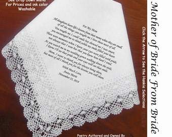 Mother of the Bride Gift Handkerchief from the bride 0124 Sign and Date for Free! 8 Ink Colors ~ MOB Wedding Hankerchief