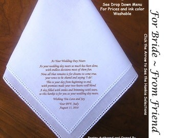Gift for the Bride Hankie from Loved One ~ 0504 Sign & Date Free!  5 Brides Handkerchief Styles and 8 Ink Colors. Brides Hankie