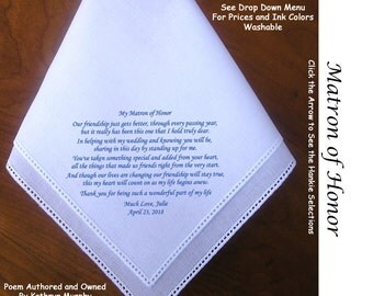 Matron of Honor Gift Handkerchief  0904~ 5 Wedding Hankie Styles ~ Sign & Date for Free! 8 Ink Colors ~ Matron of Honor Hankerchief