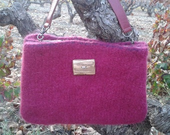 hand crafted felted shoulder bag with flowery lining