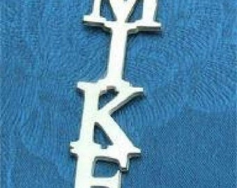 Sterling 925 Silver Vertical Name Necklace Mens MIKE