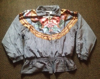 Vintage Womens Basic Editions Athletic Jogger Floral Windbreaker Zip Up Jacket Sz: M