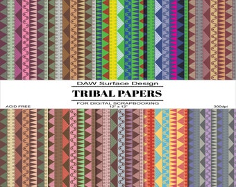 Tribal Digital Scrapbooking Papers, Various Color Schemes, Repeat Pattern, Instant Download