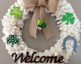 St. Patrick's Day Rag Wreath with removable/changeable decorations to convert for any holiday/season/occasion.