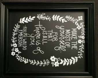 Hand Drawn Ralph Waldo Emerson Quote Chalkboard Sign