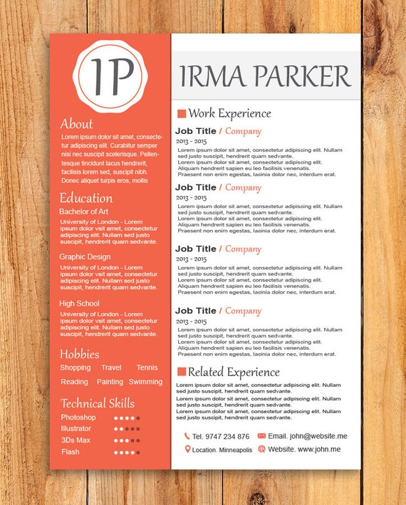 Custom Resume Template , Word Resume Template, Photoshop Resume Template  ,Ai Resume, Custom Editing Resume Template
