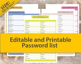 Bill organizer, Password Tracker, Password log, Password organizer, editable planner, Website Password Keeper, Password track 8.5x11 PDF