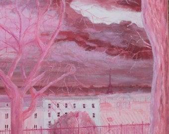 La vie en rose. Original acrylic painting. Paris. 30x30x4cm