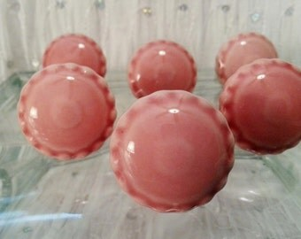 New 6 Pink Ceramic Knobs Beaded Edge