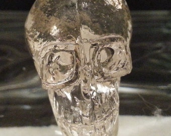 New set 2 SKELETON Skull Knobs Clear Glass Handles Pulls Gothic