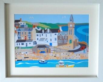 Framed Art Print  Cornwall  Porthleven     Cornish Art   Seaside View  Naive  Nautical