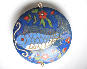 Cloisonne pendant, fish and flowers, blue and white with red flowers, 49 by 11mm - # 363