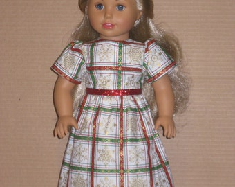 "18"" Doll Christmas Plaid Dress"