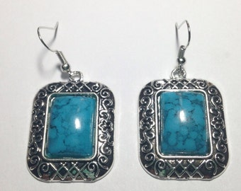Turquoise Tibetan Silver Earrings