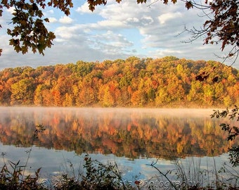 Fall photography - Fall leaves reflected over Piney Run Lake in Maryland