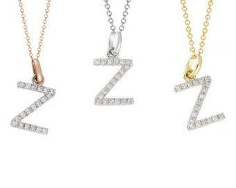 Tousi Jewelers Diamond Letter Necklace -Z Alphabet Pendant -Solid 14K Gold- Gold Letter Necklace- 0.09 CT White Color Stone-Initial Jewelry