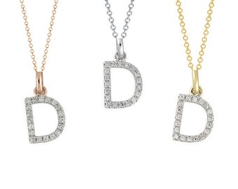 Tousi Jewelers Diamond Letter Necklace -D Alphabet Pendant -Solid 14K Gold- Gold Letter Necklace- 0.10 CT White Color Stone-Initial Jewelry