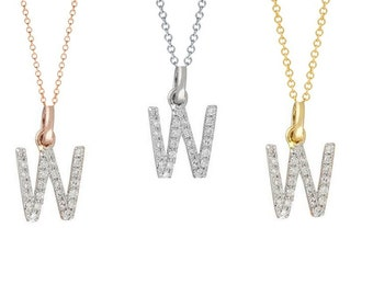 Tousi Jewelers Diamond Letter Necklace -W Alphabet Pendant -Solid 14K Gold- Gold Letter Necklace- 0.12 CT White Color Stone-Initial Jewelry