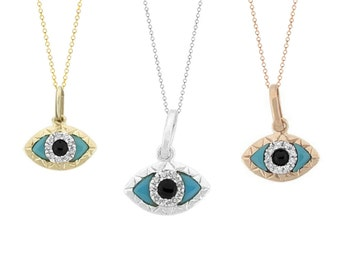 Tousi Jewelers Diamond Evil Eye Necklace-Real Solid 14 k Gold- Evil Eye Pendant-Evil eye Charm - Evil Eye Necklace