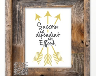 Typographic Print Digital Print inspirational Quote Art Print Home Decor Wall Art Poster Success Quote Print : A0244 gray gold