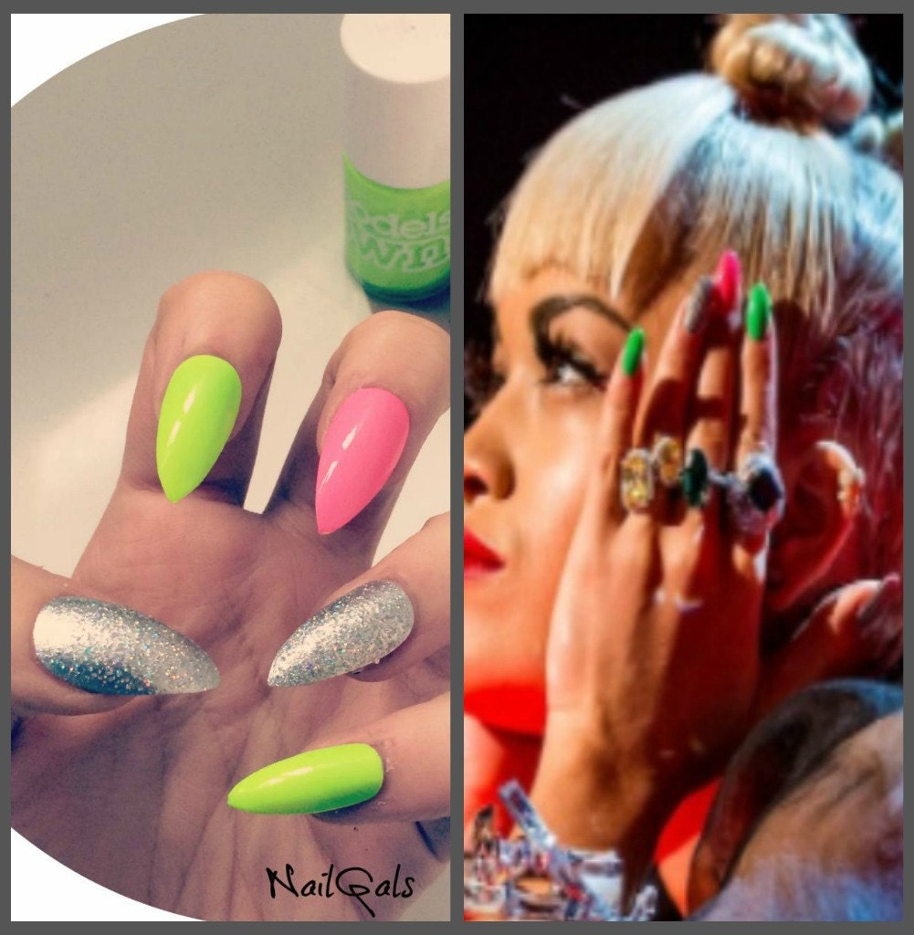 Today Live Sports: Rita Ora inspired Neon and Sparkly stiletto nails ...