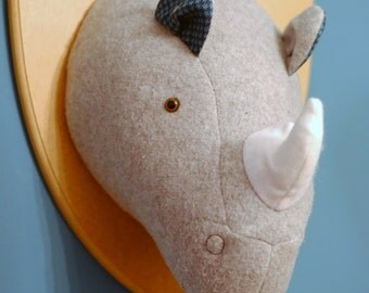 Albert the Rhino - Handmade faux taxidermy fabric animal head mounted on plaque.