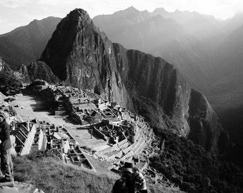 Morning in Machu Picchu - Photography, Machu Picchu, Peru, Inca Trail, Fine Art Print, Black and White, Nature, Home Decor