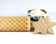 Waffles pattern - Embossed, engraved rolling pin for cookies