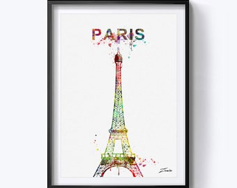 Eiffel Tower art print Eiffel Tower print Eiffel Tower watercolor poster wall art Paris art Paris print Tower poster Paris decor A153