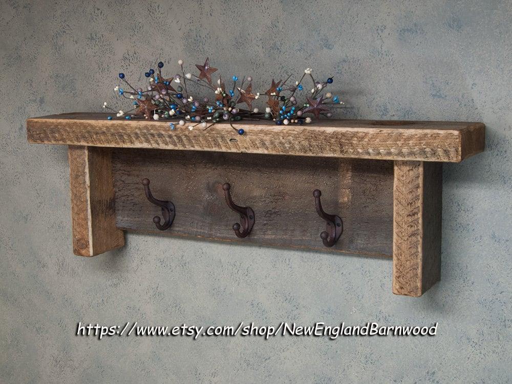 wood coat rack shelf rustic wall decor shelf wood coat rack. Black Bedroom Furniture Sets. Home Design Ideas