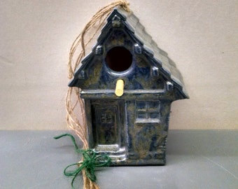 Antique Blue Birdhouse--Hand-Painted--Glazed Ceramic Bisque--Home-Patio-Garden Decor--Seasonal-Year Round Usage