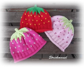 Cap raspberry, strawberry or pink Berry, knitted baby hats, various sizes