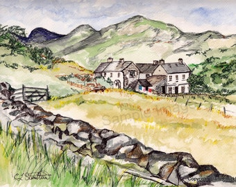 Langdale Pike, The Lake District, Cumbria. - Giclee Print of Original Watercolour and Pen Drawing by English Artist Claire Strickland
