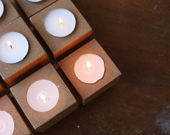 CLEARANCE SALE-Vintage Square Wood Candle Stick Holder, Unique Handmade Wooden Multi Candle Holder Table Centerpiece