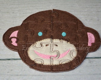 Sock Monkey Puzzle w/Storage Pouch, Quiet Game, Toddler Toy, Travel Toy, Party Favor