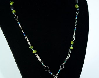 Bead and Chain link Hand-Made Necklace with Green Gemstones