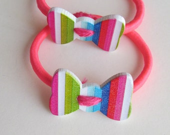 Bright and stripey pony tail holder - Neon Pink