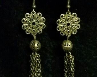 Antique Gold Filigree Dangle Earrings