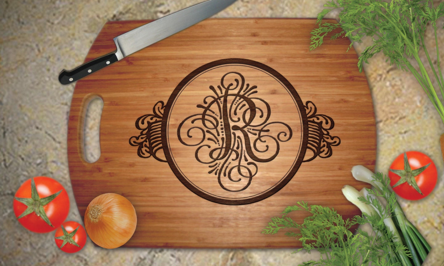 custom engraved large bamboo cutting board personalized. Black Bedroom Furniture Sets. Home Design Ideas