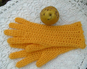 Gloves made of mohair. Orange, Handmade