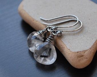 Tourmalinated Quartz Earrings, Oxidized Sterling Silver Graphic Black Tourmalinated Quartz Earrings, Wire Wrapped Rustic Gemstone Earrings