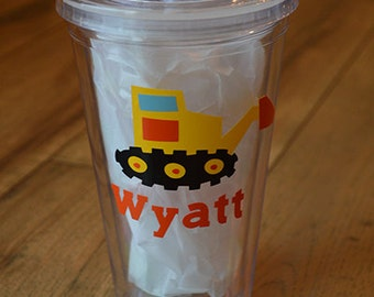 Personalized Excavator Acrylic Tumbler- little boy cup with straw- construction