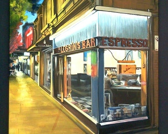 "Original acrylic painting on canvas, ""Pellegrinis Bar"", 20""x20"", original art, cityscape painting, perspective painting, city street art"