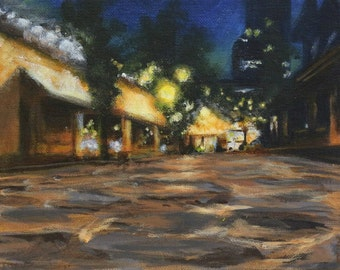 "Original acrylic painting on canvas board, titled ""Cafe at Night"", 8""x10"","