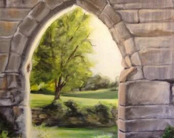 "Original acrylic landscape painting, rustic wall painting, stone wall, field painting, landscape art, acrylic painting, 14""x18"","