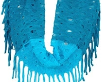 Two Tone Knit Fringe Infinity scarf with 6 colors options