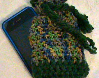 Cell Phone Case I-Phone Cozy Crochet Gadget Cover Cellular iPhone Crochet Case Cozy with ties and tassel Smartphone Sleeve pull ties Closure