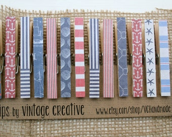 """Nautical Clothespins / Decorative Clothespin Clips in """"Nautical Love"""" / Artwork Display / Clothespin Magnets"""