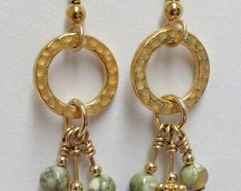 Multi-drop Rhyolite and gold-filled earrings